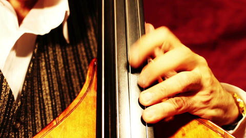 Musician and Double Bass 19 playing jazz tilts Stock Video Footage