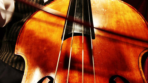 Musician and Double Bass 21 playing wide low angle Footage