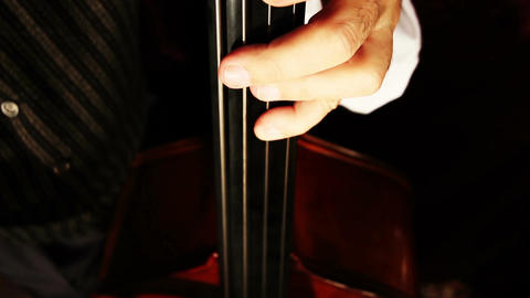 Musician and Double Bass 23 playing wide high angle Stock Video Footage
