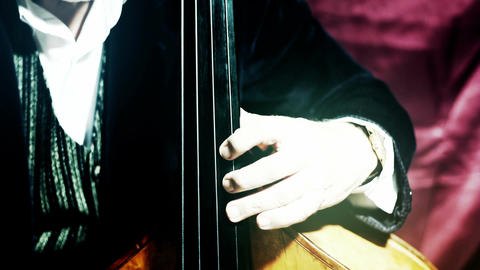 Musician and Double Bass 29 stylized artcolored Stock Video Footage