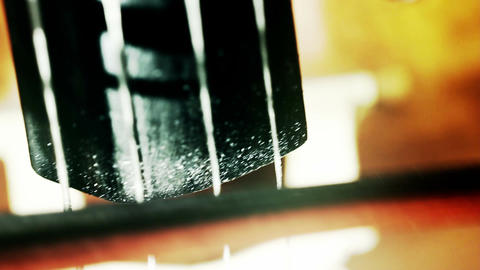 Musician and Double Bass 35 extreme closeup stylized... Stock Video Footage