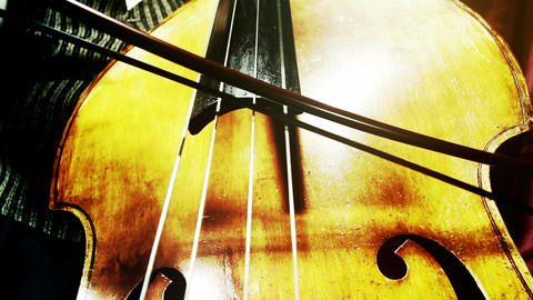 Musician and Double Bass 37 wide low angle stylized artcolored Footage