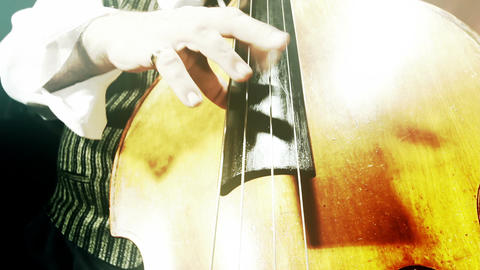 Musician and Double Bass 39 wide low angle stylized artcolored Footage