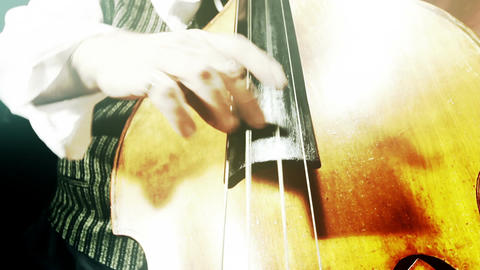 Musician and Double Bass 39 wide low angle stylized... Stock Video Footage