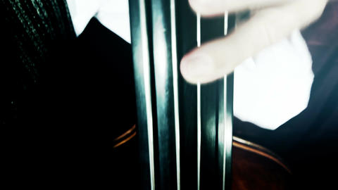 Musician and Double Bass 41 wide angle stylized artcolored Stock Video Footage