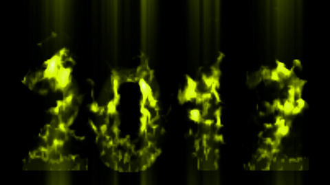 happy new year 2012,numbers 2012 burning with yellow flame and smoke Animation