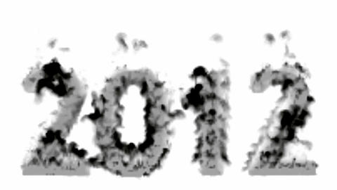 happy new year 2012,numbers 2012 burning with smoke Stock Video Footage