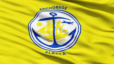 American State City Flag of Anchorage Alaska Animation