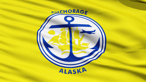 American State City Flag of Anchorage Alaska Stock Video Footage