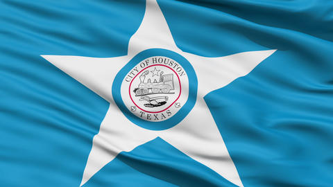 American State City Flag of Houston Texas Animation