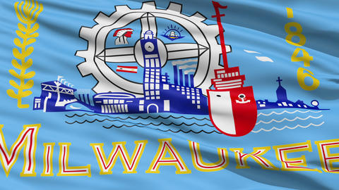 American State City Flag of Milwaukee Stock Video Footage