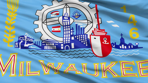 American State City Flag of Milwaukee Animation
