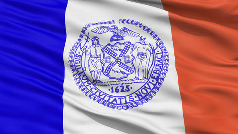 American State City Flag of New York Animation