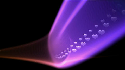 purple beam made up heart shape,a row of white hearts flying Stock Video Footage