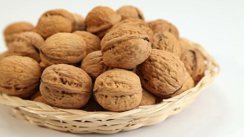 Walnuts In Basket stock footage