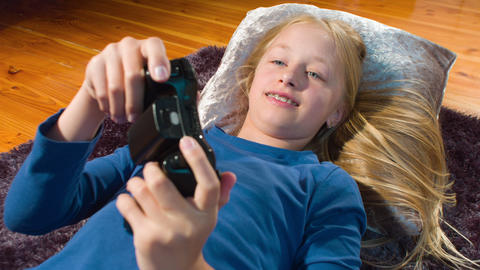Child Playing Video Game stock footage