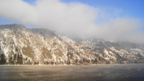 Yenisei Winter Mist Clouds Timelapse stock footage