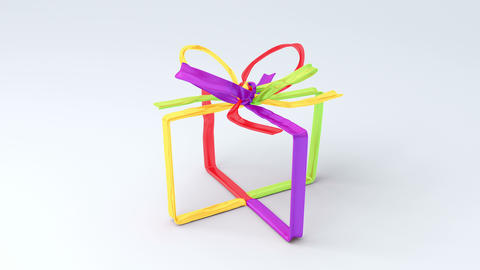 Full of color tying bows in gift box shape on bright background Animación