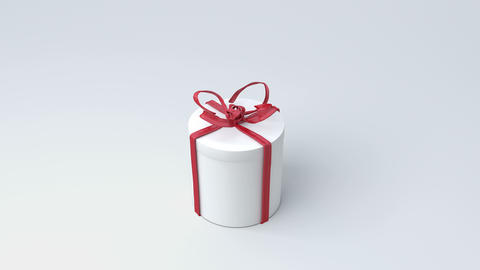 White gift box, cylinder with red ribbon closing. Tying bows Animation