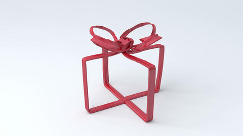 Red tying bows in box shape on bright background Animation
