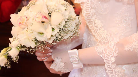 the bridal bouquet in hands Footage