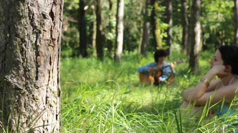 loving couple in the forest Stock Video Footage