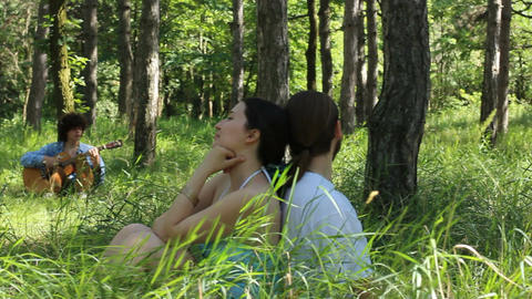 loving couple in the forest Live Action
