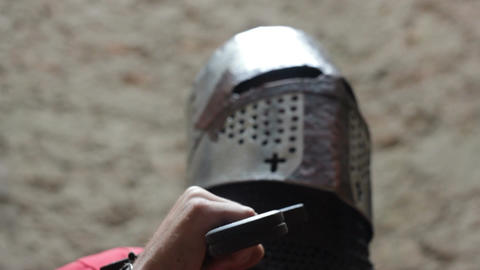 Crusader In Light Armor stock footage