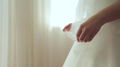 Bride is waiting for the groom in the room Live Action