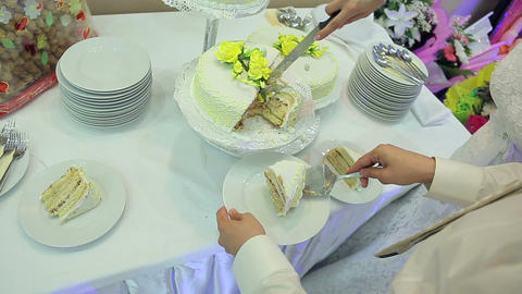 The Bride And Groom Cut The Cake stock footage