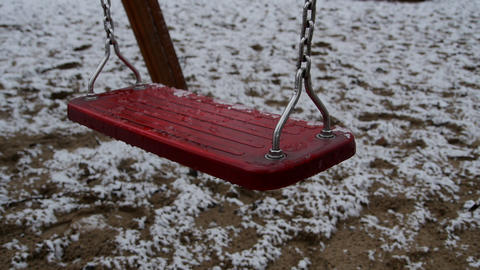 Empty dirty swing during the winter Footage