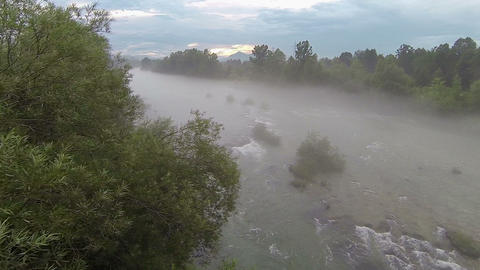 AERIAL: Fog and mist over the river Footage