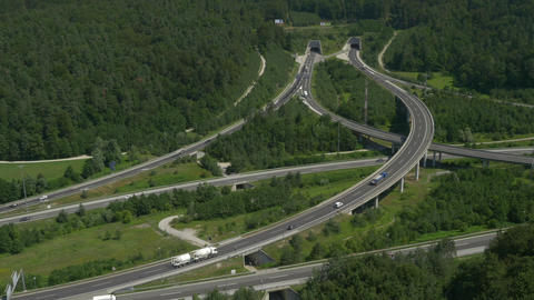 AERIAL: Highway Intersections stock footage