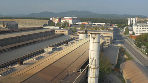 AERIAL: Crumbling Factory stock footage