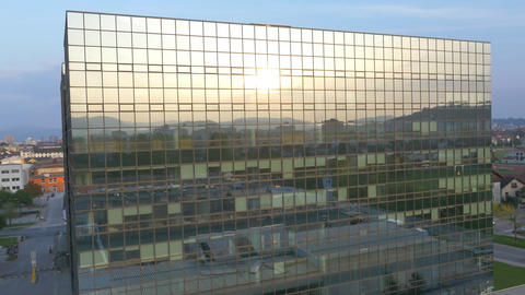 AERIAL: Reflection in the business glass building Footage