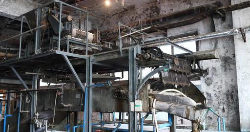 4k Large Machine In Silk Factory,reeling At Workshop stock footage