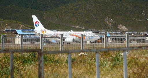 4k airplane falling off Shangri-La airport,YunNan China Footage