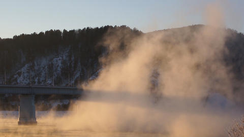 River Yenisei Bridge Mist Footage