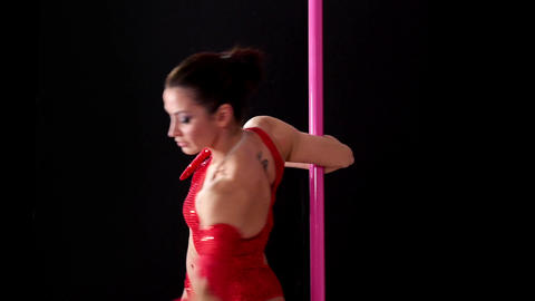 Acrobatic Show With Girl Dancing Pole Dance Footage