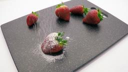 strawberry sprinkle with sugar powder Footage