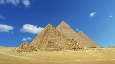 Timelapse with clouds over great pyramids in Egypt Footage