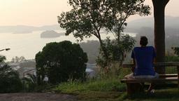 elder man look at sunset in sea Footage