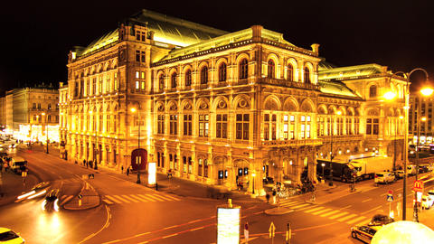 View of the Vienna State Opera at night Footage