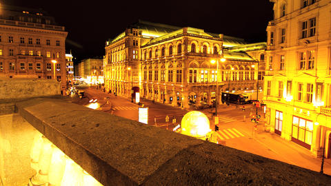 View Of The Vienna State Opera At Night stock footage