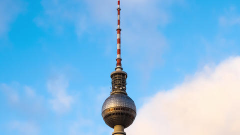 Clouds move over the tv tower in Berlin Footage