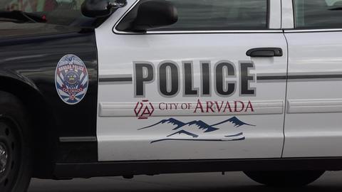 Arvada Colorado Police Car Zoom Out stock footage