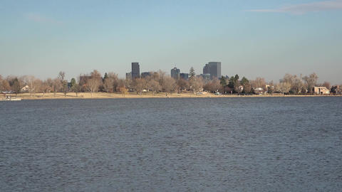 Downtown Denver Zoom out From Sloans Lake Footage