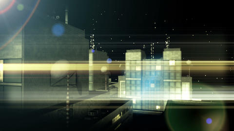 Background with office buildings at night Animation