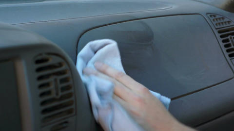 Car Cleaning Spray and Wipe Dashboard Footage