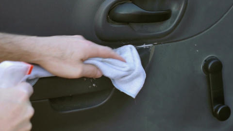Car Cleaning Wipe Inside Of Door stock footage
